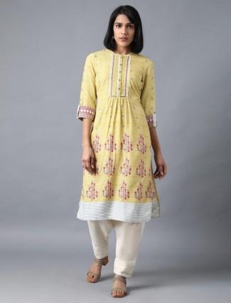 W printed yellow casual cotton kurti