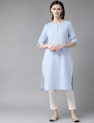 W round neck casual solid light blue kurti