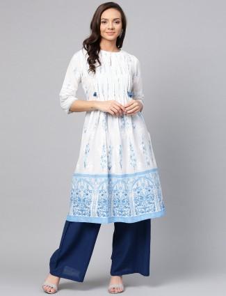 W white color cotton casual kurti