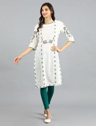 W white color round neck cotton kurti