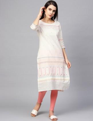 W white hue casual wear round neck kurti