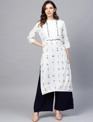 W white hue cotton fabric chinese neck kurti