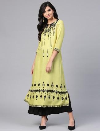 W yellow color pretty cotton kurti