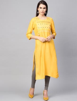 W yellow hue festive wear pretty cotton kurti