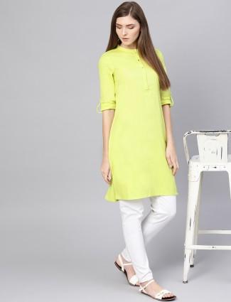 W yellow hue solid cotton fabric kurti