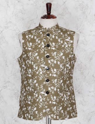 Waistcoat in olive printed festive wear