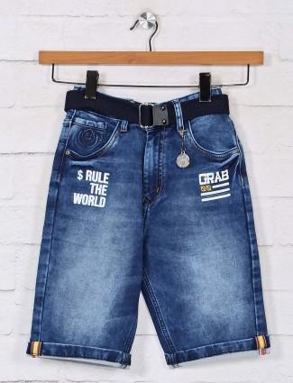 Washed blue denim shorts for boys