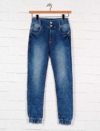 washed blue slim fit denim jeans