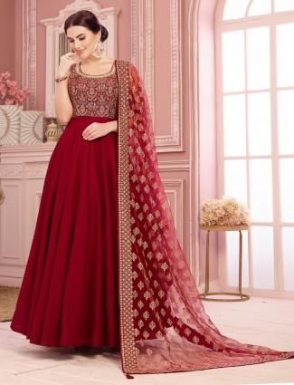 Wedding anarkali salwar suit in maroon