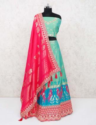 Wedding days green banarasi silk semi stitched lehenga choli
