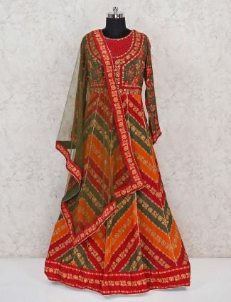 Wedding exclusive green satin designer gown