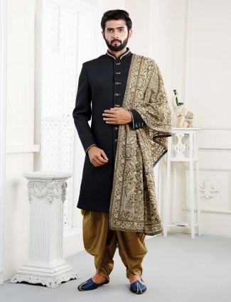 Wedding function black hue solid indo western
