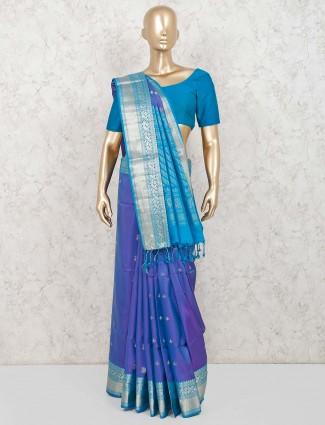 Wedding function blue pure silk saree