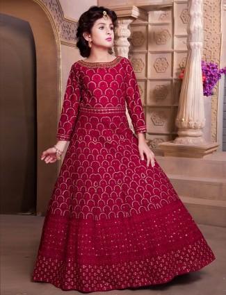 Wedding occasion designer maroon hue gown