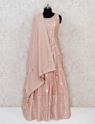 Wedding peach cotton silk anarkali suit