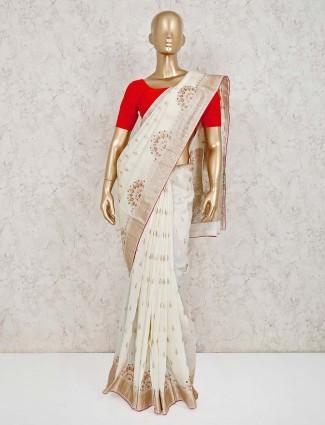 Wedding saree in cream muga silk