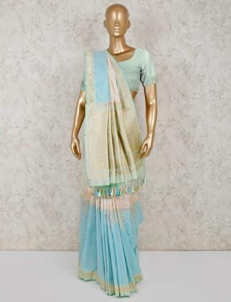 Wedding wear aqua banarasi silk saree