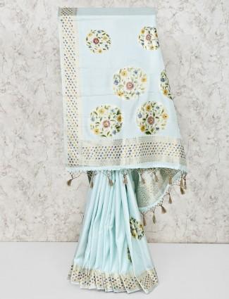 Wedding wear aqua silk saree