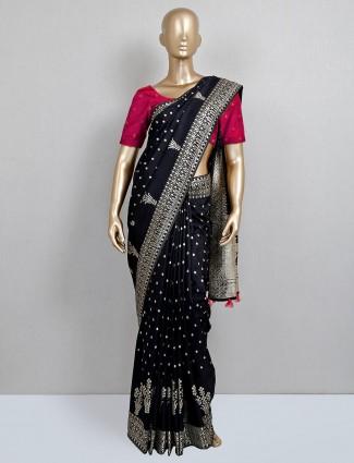 Wedding wear black dola silk saree