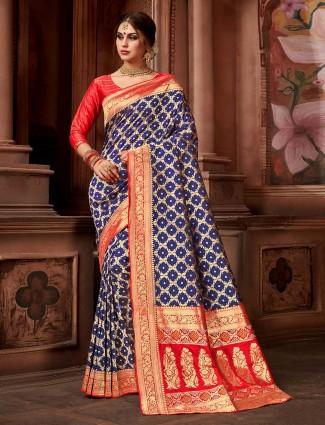 Wedding wear blue colored silk saree