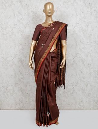 Wedding wear brown handloom cotton saree