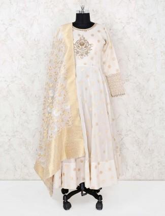 Wedding wear cream cotton silk palazzo suit