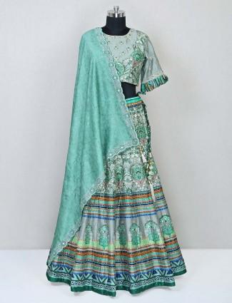 Wedding wear designer raw silk pista green lehenga