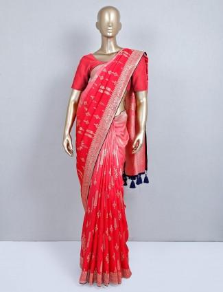 Wedding wear designer semi silk saree in red