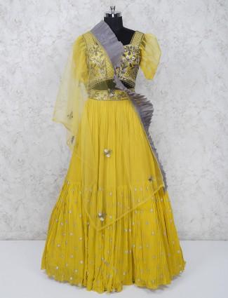 Wedding wear georgette fabric yellow lehenga choli
