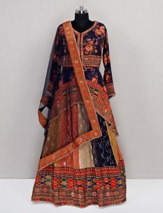 Wedding wear georgette multi colored lehenga choli