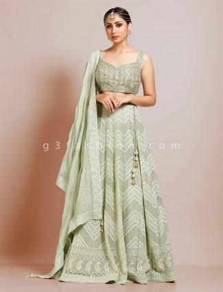 Wedding wear georgette pista green lehenga choli