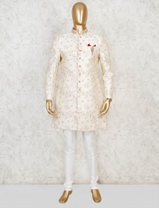 Wedding wear gold raw silk indo western