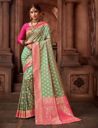 Wedding wear green color silk saree