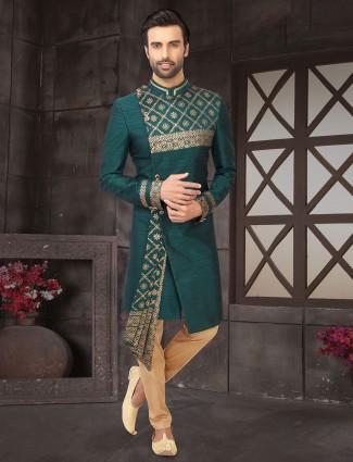 Wedding wear green raw silk indo western