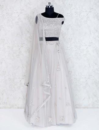 Wedding wear grey net lehenga choli