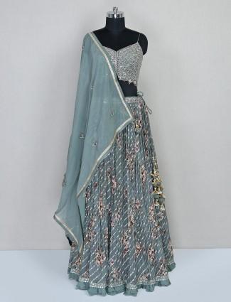 Wedding wear lehenga choli in grey