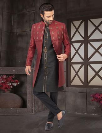 Wedding wear maroon raw silk jacket indo western