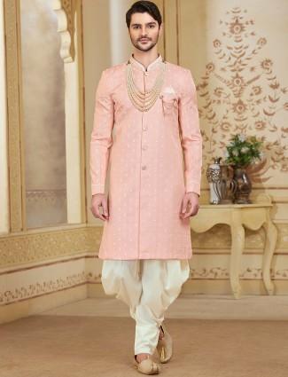Wedding wear pink designer cotton silk indo western