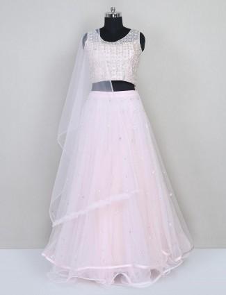 Wedding wear pink net lehenga choli