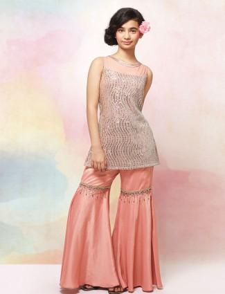 Wedding wear pink satin punjabi sharara suit