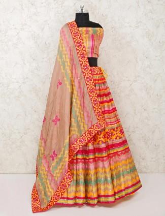 Wedding wear pink silk semi stitched lehenga choli