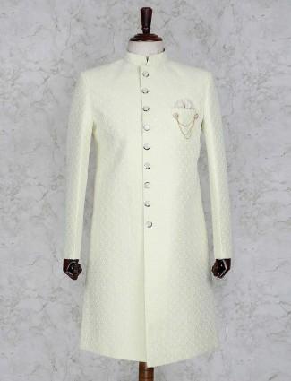 Wedding wear pista green indo western