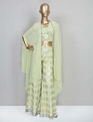 Wedding wear pista green palazzo suit