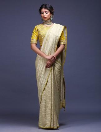 Wedding wear pure silk light green saree