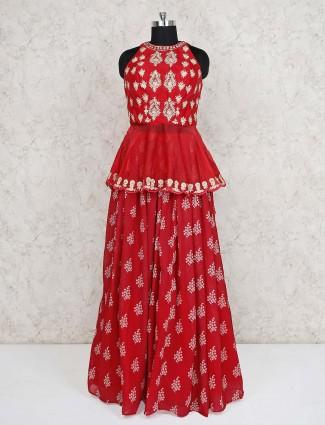 Wedding wear red georgette peplum style choli suit