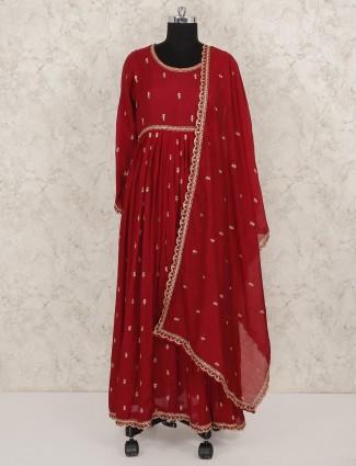 Wedding wear red hue cotton silk long salwar suit