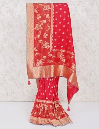 Wedding wear red silk saree