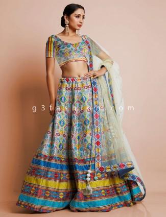 Wedding wear sky blue unstitched lehenga in silk