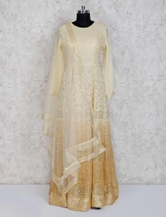 Wedding wear yellow designer anarkali suit