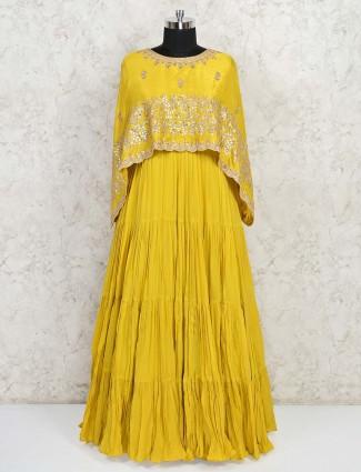 Wedding wear yellow georgette gown